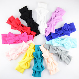 free shipping 12pcs lot Korean 12 Colors Cotton Headbands With Big Bows For New Birth Baby Girls Top Quality Headwear For Kids D08
