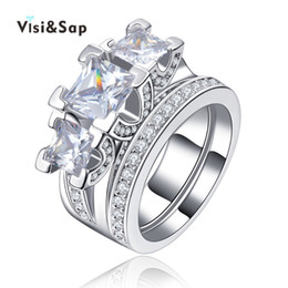 Visisap White Gold color rings for women 2ct big cubic zircon jewelry double rings Wedding engagement Ring luxury bague VSR131