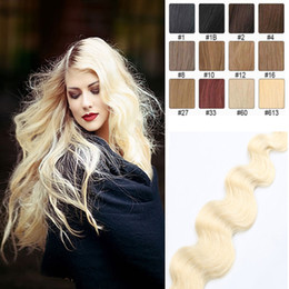 High Quality Body Wave Tape in Human Hair extensions 16-24inch Brazilian Virgin Human Hair Extension 20pcs PU Skin Weft 30-70g Multi Colors