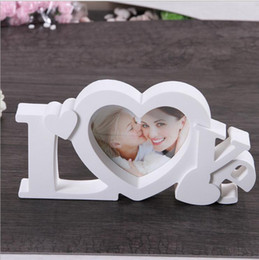 "Photo Frame White Heart Shape With One Picture 4x4"" For New Baby And Sweet Lover Gift"