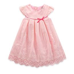 Pequeñas faldas de los niños en Línea-2017 vestidos de las muchachas de la ropa de los cabritos Ahueca hacia fuera la pequeña falda de la manga de la princesa de la mosca del algodón del bordado de los niños de las muchachas