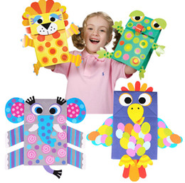 Wholesale Easy Crafts Art Sticker Paper Bag Puppets Kids Child Creative Activity DIY Toys