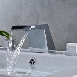 Wholesale and Retail Unique Design Waterfall Basin Sink Mixer Taps Widespread Deck Mount Bathroom Faucet Chrome Brass