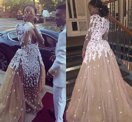 2017 Sexy Zuhair Murad Prom Dresses Plunge V Neck Long Sleeves Appliques Tulle Champagne 2K17 African Black Girls Party Dresses