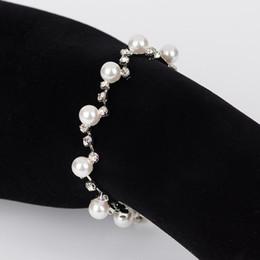 YFJEWE Fashion Stellux Austrian Crystal Bracelets Charm Crystal Cubic Zircon Simulated Pearl Bracelet Women Jewelry B035