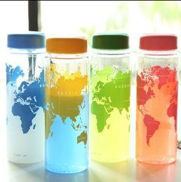 Le sport pc en Ligne-World Map Plastic Cups My Bottle Bottle Fruit Juice Sport Portable Voyage Botle Carte Eau Tasses OOA1518