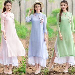 Real women's clothing folk style tea long skirt Chinese hand embroidered cotton dress size wind female