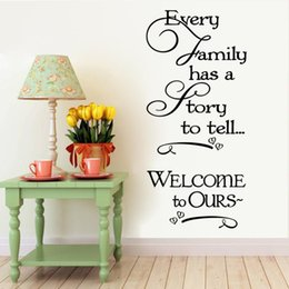 Wholesale Welcome to our home Family quote wall decals decorative removable heart vinyl wall stickers Home Decor Bed Room Home Decoratrom