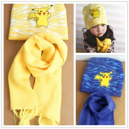 Wholesale Poke Mon Winter Warm Cartoon Hat Scarf Set for kids Knitted Poke Pikachu Soft Warm Beanie Cap Long Scrarves for Baby years kids