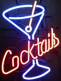 Cocktails Martini Real Glass Neon Sign Beer Bar
