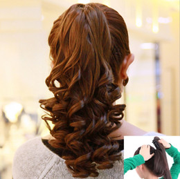 Wholesale Curly Ponytail Black Hair - 2016 New High Quality Ponytail Claw Clip Fashion Hair extension Long jf109 Hair piece Wavy Hairpieces Female Curly Girl Women