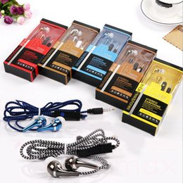 3.5mm In-ear Bass Earphone Stereo Headset Headphone Wire Braided Woven Nylon Cable with Mic Earbuds Retail Box For iPhone Samsung HTC LG top