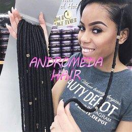 Descuento rastas tejen 14 inch 70g / pack falso locs crochet el pelo negro de los dreadlocks El pelo sintético de la trenza del ganchillo La Habana Mambo Faux Locs que teje