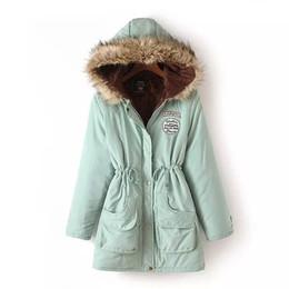 Lignes de capot en Ligne-JSEO Femmes fourrure fourrure Parka manteaux Outdoor hiver capuchon long soufflage vers le bas veste Coton-rembourré manteau manteau avec capuche