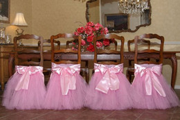 Wholesale Custom Made Satin Tulle Tutu Chair Covers Vintage Romantic Chair Sashes Beautiful Fashion Wedding Decorations