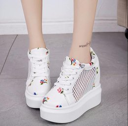 fashion The new 2017 summer lady increased white gauze Korean breathable high-heeled casual shoes all-match round