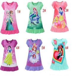 Wholesale Snow White Clothing Girls - Kids girls summer Pajamas Elsa Anna Mermaid Sofia Snow White Minnie  kids pajamas polyester nightgowns sleepwear clothes L001
