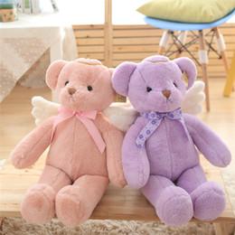 Wholesale Grossiste Nouveau ours en peluche avec des ailes Peluche Jouets Peluche ours mignon ours en peluche bébé Peluche Cadeaux Rose Purple Beige Couleur
