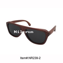 pilot style dyed red bamboo sunglasses