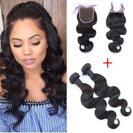 8A Brazilian Virgin Hair With 4*4 Lace Closure Brazilian Body Wave Virgin Hair With Closure Fashion Hair 2 Bundle 50g pcs With Closure