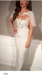 Robes moulantes kardashian à vendre-Robe de soirée Yousef aljasmi Labourjoisie Gaine Décoration hors des épaules Cristaux Perles De l'épaule Kim kardashian Zuhair murad