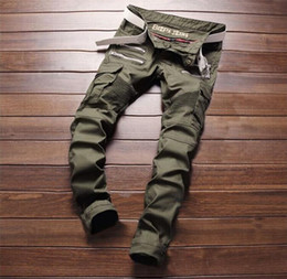 Wholesale NEW men s Jeans pants Punk character army green men pants European station Motorcycle big yard pants A0