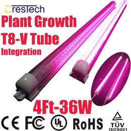 Wholesale LED Grow Tube W Ft T8 V Shaped Integration Tube Full Spectrum for Medical Plants and Bloom Fruit Pink Color