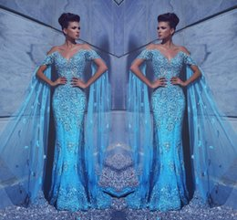 2017 New Arrival Luxury Blue Mermaid Prom Dress Sheer Neck Tulle Floor Length Beaded Crystals Formal Evening Gowns Party Wear Custom Made