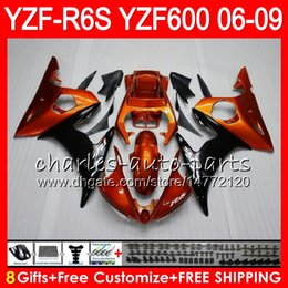 Orange black 8Gifts 23Colors Body For YAMAHA YZF R6 S YZFR6S 06 07 08 09 57HM23 YZF600 YZF R6S 06-09 YZF-R6S 2006 2007 2008 2009 Fairing