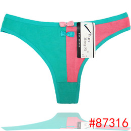 Sexy Hot Teen Women's Underwear Stitching Color Panties Soft Cotton Ladies Thongs,Cute Double Bow Ladies Panties