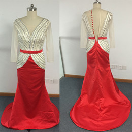 2017 Prom Dresses Real Images Sparking Beaded Bodice Deep V Neck Mermaid Champagne Red Evening Dresses