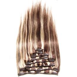 Extensión del pelo humano clip de la cabeza llena en venta-8 PC / set Clip del resplandor en el pelo humano brasileño de las extensiones del pelo mezcló el clip principal lleno recto sedoso del color en la extensión del pelo de la Virgen de Remy
