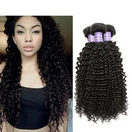 Promotion bouclés tisse coiffures Lolly Hair Peruvian Kinky Curly Hair Extension 4pcs Lot Mix Longueur 8-28inch Virgin Weave Curly Hairstyles