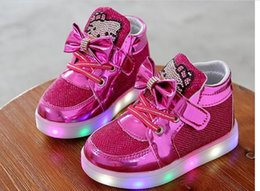 Us size: 5-12 Kids Casual Lighted Shoes Girls Glowing Sneakers Children Hello Kitt Shoes With Led Light Baby Girl Lovely Boots