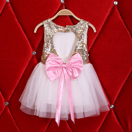 Wholesale 2017 Girls dresses Kids clothes Botique Girl Big Bows heart hollow back Gold sequins dress Tutu white dresses Summer party Fashion year