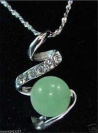 Fantastic! Rare Tibet silver natural jade bead pendant necklace