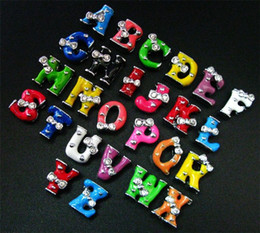 8mm 130pcs lot A-Z Enamel two rhinestones Slide letter diy alloy Charms fit for 8mm keychains leather wristband