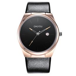 Black men's watch business leather wristwatch ONLYOU luxury fashion brand calendar male rose gold quartz wrist watch free delivery