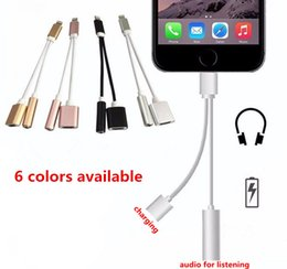 Wholesale 2 in for iPhone plus earphone headphone charging adapter converter cable mm aux audio adapter to lighting connector charging cord