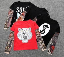 2017 ropa tatuado Muchacho de ropa de algodón camiseta de manga larga niños niños Camiseta de tatuaje manga bebés Tops Springautumn niños de ropa TOP1656 ropa tatuado limpiar