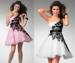 Damas mini vestido vestido en Línea-Señoras atractivas vestido corto del baile de fin de curso Un cordón del hombro poco vestido negro Vestido de noche del partido del cordón del cordón Tamaño 2 4 6 8 10 12 14+