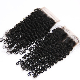 Indian Curly Lace Closure Free Middle Part Indian Virgin Human Hair Closures 4x4 Natural Black 130% Density Kinky Deep Curly Lace Closure