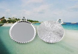 50Pcs Silver plated Cabochon Settings Pendant Trays glue on bail picture frame Charms A13745SP 25MM