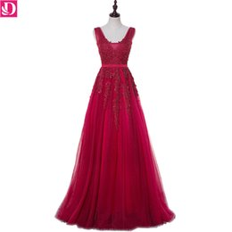 In Stock Special Occasion Dresses Evening Dresses Luxurious Appliques Beading Robe De Soiree A-line V-neck Long Banquet Party Dress 8700
