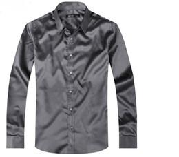 Wholesale- Silk Mens Casual Shirts Long-sleeve Slim Shirt shirts S M L XL XXL XXXL Spring, summer, the new silk shining surface middle