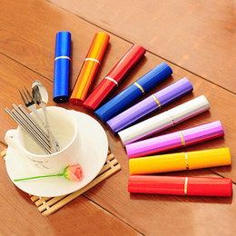 Wholesale piece fashion environmental stainless steel chopsticks spoon fork sets outdoor portable tableware three piece sets wholes