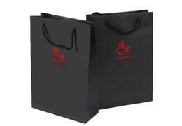 Custom BLACK cardstock paper packaing bags with handles Red Silver Gold foil stamping