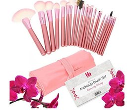 Professional Makeup Brushes, 22 Piece Set, Pink, Vegan, with Comfortable Plastic Handles, Great for Precision Makeup & Contouring, Includes
