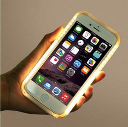 Wholesale Mode LED allumer votre visage étui lumineux cas de batterie cas auto pour iphone s plus Samsung Galaxy S7 bord note avec détail paquet