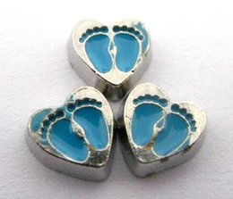 20PCS lot Blue Foot Print Heart Floating Locket Charms Fit For Living Memory Floating Locket Jewelry Findings